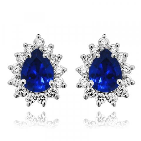 Pisaranmuotoinen sininen ruusukenappikorvakorut  rodinoitua hopeaa