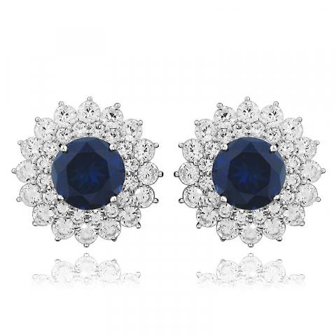Suuria pyöreitä sininen ruusukenappikorvakorut  rodinoitua hopeaa