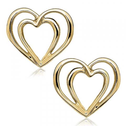 Hienot sydän korvarenkaat 9 karaatin kultaa kanssa