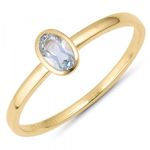Kaunis ovaali sininen topaasi sormus 9 karaatin kultaa