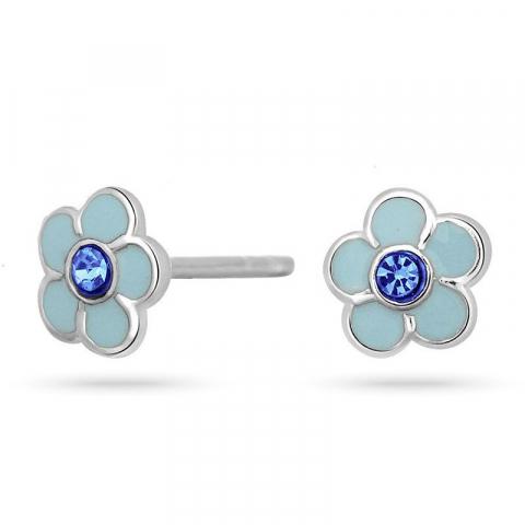 Nordahl andersen kukka korvarenkaat  rodinoitua hopeaa sinistä zirkonia sininen emalji