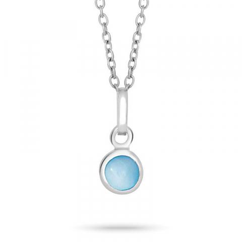 Nordahl andersen pyöreä riipus jossa on ketju  rodinoitua hopeaa sininen kivi