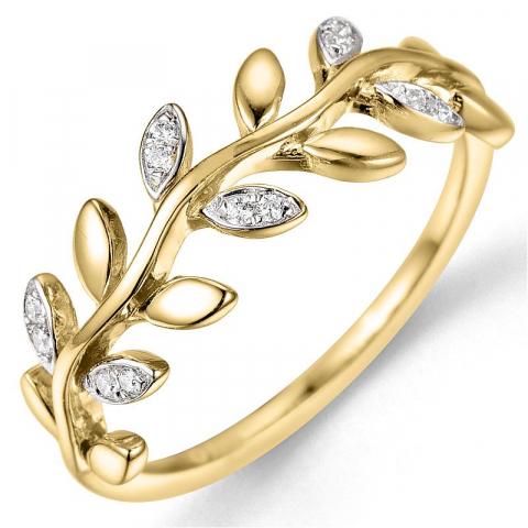 timanttisormus 14 karaatin kulta ja valkokultaa 0,06 ct