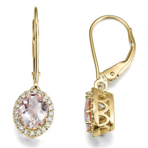 pitkät timanttikorvakorut 14 karaatin kultaa kanssa Morganite ja timantti