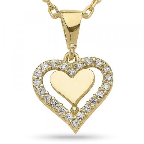 Sydän riipus jossa on ketju  kullattua hopeaa sydänriipus 9 karaatin kultaa