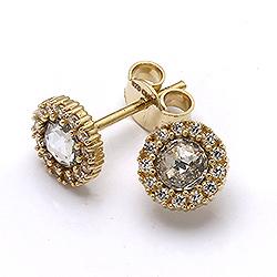 Hienot pyöreitä kultakorvakorut 9 karaatin kultaa kanssa zirkonia