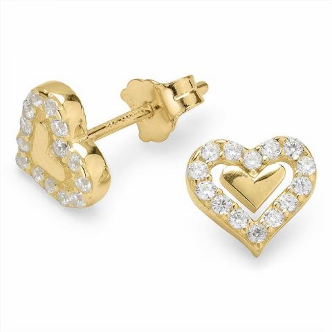 Sydän nappikorvakorut 9 karaatin kultaa kanssa zirkoni