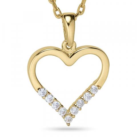 Sydän kaulaketju  kullattua hopeaa riipus 9 karaatin kultaa