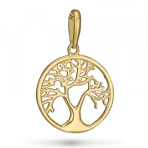 pyöreä elämänpuu riipus  9 karaatin kultaa
