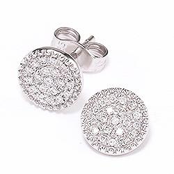 Pyöreitä timantti briljanttikorvakorut 14 karaatin valkokultaa kanssa timanttia