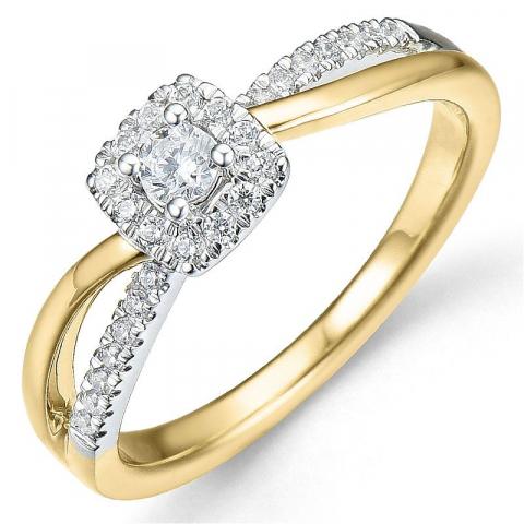 Tilaustuotteet - timanttisormus 14 karaatin kulta ja valkokultaa 0,10 ct 0,25 ct