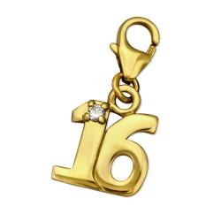 16 charms riipus   kullattua hopeaa