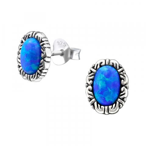 Ovaaleja sininen opaali korvarenkaat  oksidoitua sterlinghopeaa