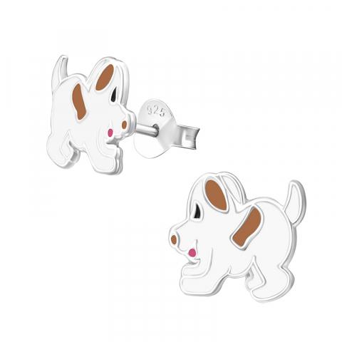 Kivoja koiranpentu valkoinen nappikorvakorut  hopeaa