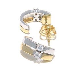 Timanttikorvakorut 14 karaatin kultaa ja valkokul kanssa timanttia