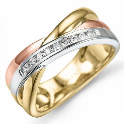 timantti kulta sormus 14 karaatin valko- ja punakultaa 0,09 ct