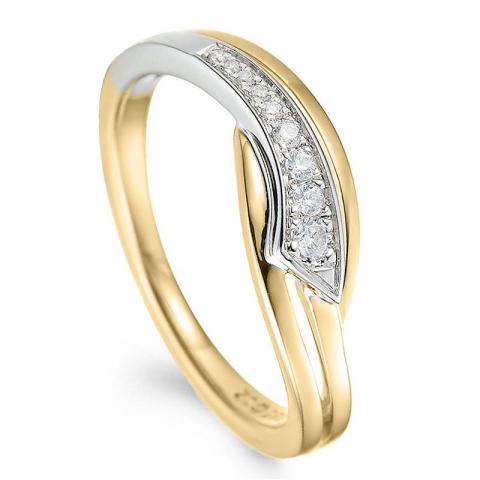 Timantti kulta sormus 14 karaatin kulta ja valkokultaa 0,09 ct