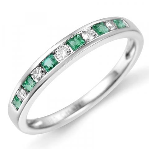Smaragdi sormus 14 karaatin valkokultaa 0,11 ct 0,21 ct