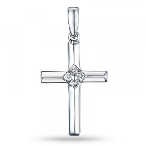 Risti timantti riipus 14 karaatti valkokultaa 0,07 ct
