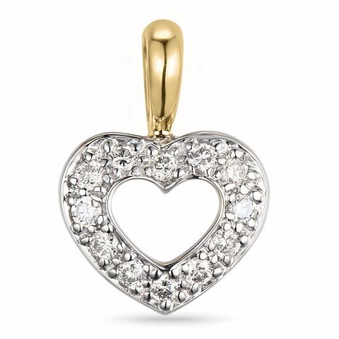 hauska timantti sydänriipus 14 karaatti kulta ja valkokultaa 0,15 ct