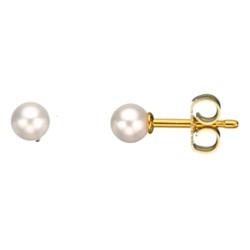 4 mm Scrouples pyöreitä valkoisia helmi korvarenkaat  8 karaatin kultaa