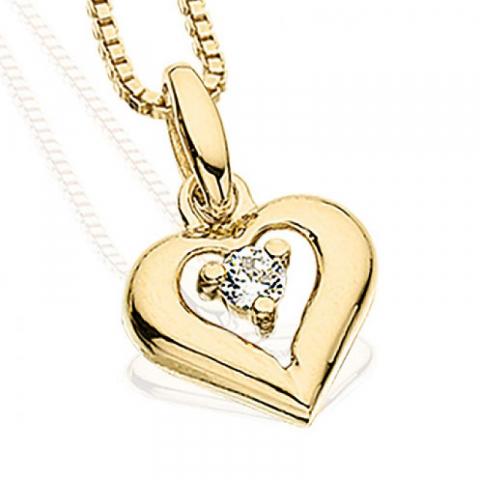 Kiiltävä Scrouples sydän riipus jossa on ketju  8 karaatin kultaa Kullattu hopeakaulaketju valkoinen zirkoni