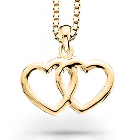 Yksinkertainen Scrouples sydän riipus jossa on ketju  8 karaatin kultaa Kullattu hopeakaulaketju