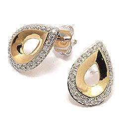 Timantti nappikorvakorut 14 karaatin kultaa kanssa timanttia