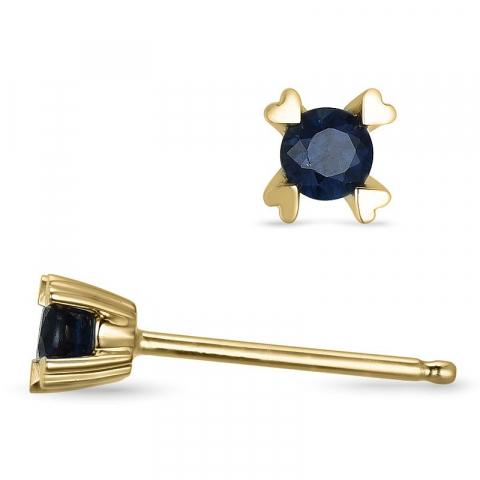 Sininen safiiri nappikorvakorut 14 karaatin kultaa kanssa safiiria