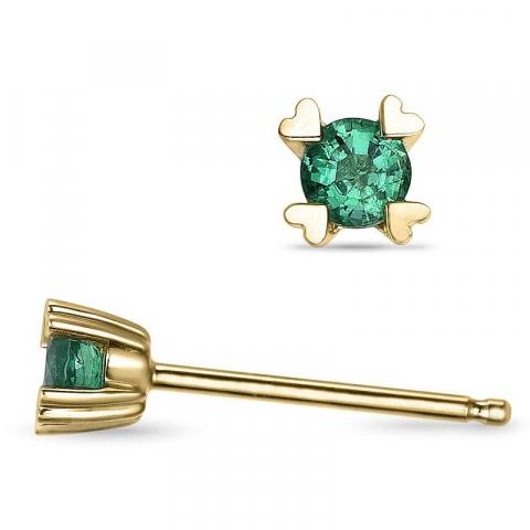 Smaragdi korvarenkaat 14 karaatin kultaa kanssa smaragdia
