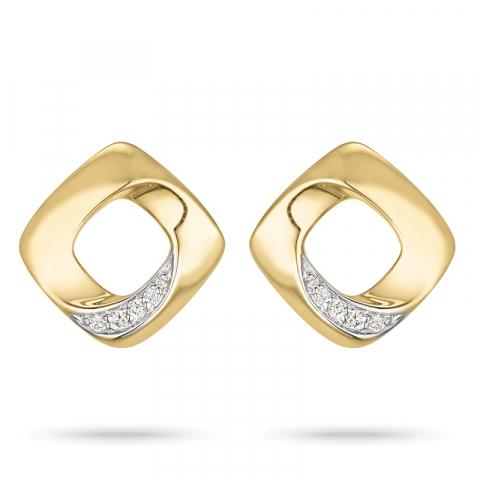 Timantti nappikorvakorut 14 karaatin kultaa ja valkokul kanssa timanttia