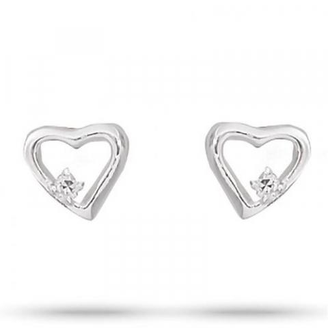 Elegantit Aagaard sydän korvarenkaat  hopea valkoista zirkonia