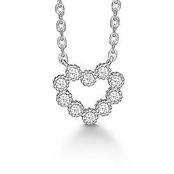 Aagaard sydän riipus jossa on ketju  rodinoitua hopeaa valkoista zirkonia