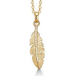 Aagaard lehti riipus  8 karaatin kultaa Kullattu hopeakaulaketju valkoista zirkonia