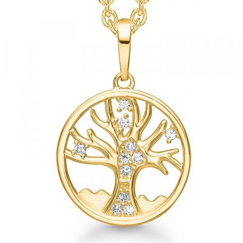 12 mm elämänpuu zirkoni ankkurikaulaketju  kullattua hopeaa riipus 8 karaatin kultaa