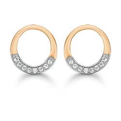 Støvring Design pyöreitä korvarenkaat  14 karaatin valkokultaa 14 karaatin kultaa valkoista zirkonia