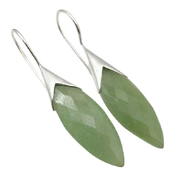 Kivoja vihreä korvarenkaat  hopea