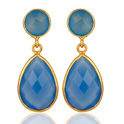 Pisaranmuotoinen sininen kalsedoni korvarenkaat  kullattua hopeaa