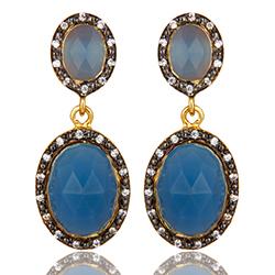 Ovaaleja sininen korvarenkaat  kullattua hopeaa kanssa oksidoitua sterlinghopeaa