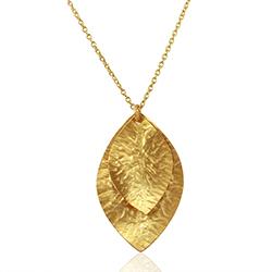 Lehti kaulaketju  kullattua hopeaa riipus kullattua hopeaa