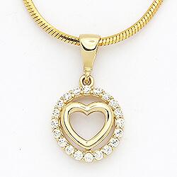 Pyöreä sydän riipus  14 karaatin kultaa