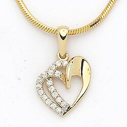 Kaksinkertaiset sydän riipus  14 karaatin kultaa