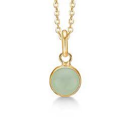 Hauska Aagaard pyöreä kristalli riipus  8 karaatin kultaa Kullattu hopeakaulaketju vaaleanvihreä kristalli