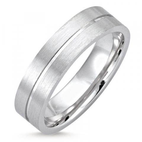 elegantti Miesten sormus rodinoitua hopeaa