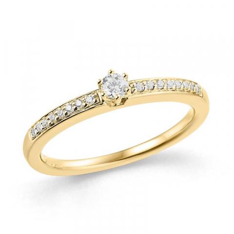 Hieno valkoinen timantti sormus 14 karaatin kultaa 0,09 ct 0,076 ct
