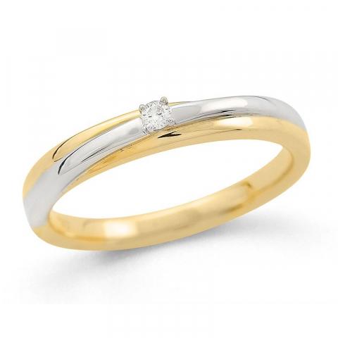upea timanttisormus 14 karaatin kulta ja valkokultaa 0,04 ct