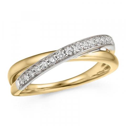 Kaunis timanttisormus 14 karaatin kulta ja valkokultaa 0,19 ct