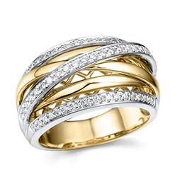 leveä timanttisormus 14 karaatin kulta ja valkokultaa 0,35 ct