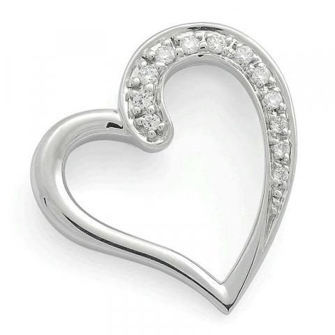 Hieno sydän timanttiriipus 14 karaatti valkokultaa 0,08 ct