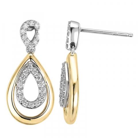 pisaranmuotoinen timantti korvarenkaat 14 karaatin kultaa ja valkokul kanssa timantti